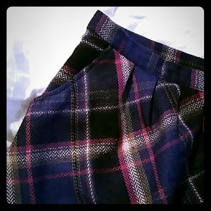 Purple Plaid Skirt with Pockets Size 14